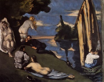 Pastoral or Idyll Paul Cezanne Impressionistic nude Oil Paintings