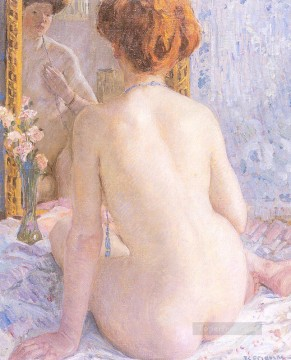 Nude and Ballerina Painting - Reflections Marcelle Impressionist nude Frederick Carl Frieseke