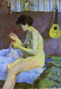 Nude and Ballerina Painting - Study of a Nude Suzanne Sewing Post Impressionism Primitivism Paul Gauguin