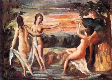 The Judgement of Paris Paul Cezanne Impressionistic nude Oil Paintings