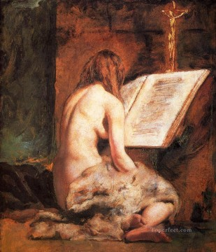 Impressionist Nude Painting - The Penitent Magdalen female body William Etty