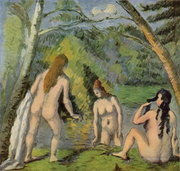 Bather Art - Three Bathers 1882 Paul Cezanne Impressionistic nude