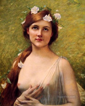 Young woman with morning glories in her hair female body nude Jules Joseph Lefebvre Oil Paintings