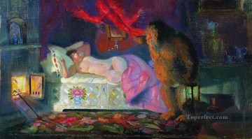 the merchant wife and the domovoi 1922 Boris Mikhailovich Kustodiev impressionism nude Oil Paintings