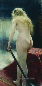 Nude and Ballerina Painting - the model 1895 Ilya Repin Impressionistic nude