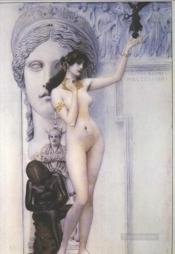 Nude and Ballerina Painting - Allegory of Sculpture Gustav Klimt Impressionistic nude