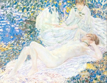 Nude and Ballerina Painting - Summer Impressionist nude Frederick Carl Frieseke