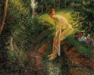 1895 Works - bather in the woods 1895 Camille Pissarro Impressionistic nude