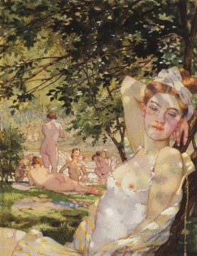 bathings in the sun Konstantin Somov impressionism nude Oil Paintings