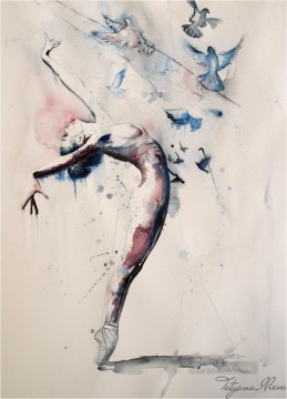 watercolor Deco Art - nude and bird watercolor