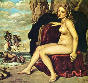 dragon Painting - st george killing the dragon 1940 Giorgio de Chirico Impressionistic nude