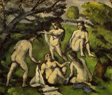 Nude and Ballerina Painting - Five Bathers 2 Paul Cezanne Impressionistic nude