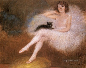 cat cats Painting - Ballerina with a black Cat Pierre Carrier belleuse