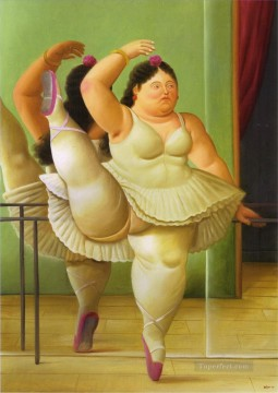 Nude Ballet Painting - Dancers at the Bar Fernando Botero Ballet