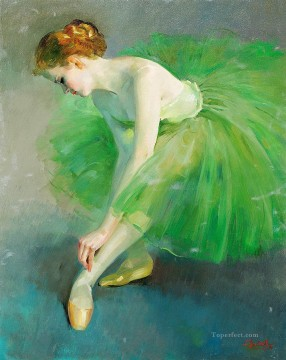 Nude Ballet Painting - ballet dancer in green