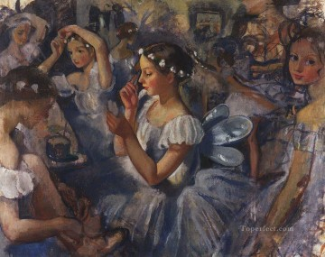 Artworks in 150 Subjects Painting - girls sylphides ballet chopiniana 1924 Russian ballerina dancer