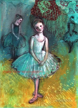 Nude Ballet Painting - the ballerinas in blue