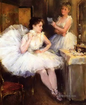 Nude Ballet Painting - the ballet dancers aka the dressing room Willard Metcalf