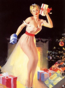 Pin up Painting - A Christmas Eve Waiting for Santa 1954 pin up