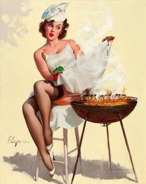 Elvgren Barbecutie Rare Treat 1964 pin up Oil Paintings