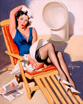 Elvgren Skirts Ahoy pin up Oil Paintings