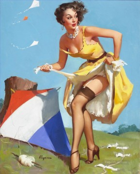 Pin Up Girls 2 Oil Paintings