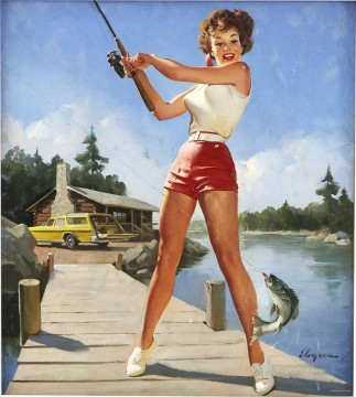 Pin up Painting - girl fishing napa pin up