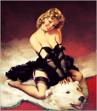 sexy girl bear pin up Oil Paintings