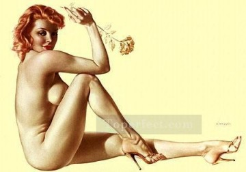 Pin up Painting - nd0458GD realistic from photo woman nude pin up