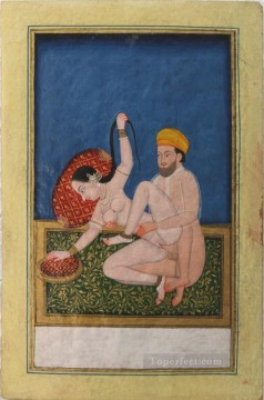 Nude and Ballerina Painting - Asanas from a Kalpa Sutra or Koka Shastra manuscript 3 sexy