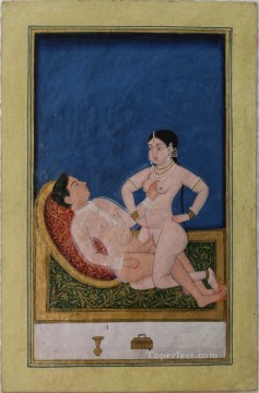 Asanas from a Kalpa Sutra or Koka Shastra manuscript sexy Oil Paintings