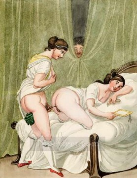 Emanuel Oil Painting - Erotische Szene Georg Emanuel Opiz caricature Sexual