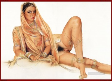 Indian erotic lady sexy nude Oil Paintings