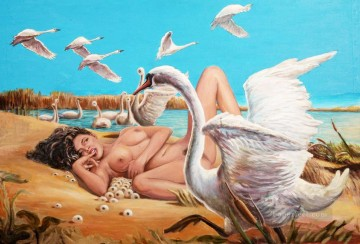 Nude and Ballerina Painting - Leda and swans sexy