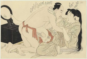 sexual deco art - A man interrupts woman combing her long hair Kitagawa Utamaro Sexual