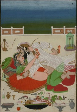Nude and Ballerina Painting - Lovemaking Couple in on Palace Terrace Udaipur Circa 1830 sexy