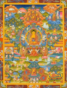 buddha Painting - Lord Buddha Seated on Six ornament Throne of Enlightenment and the Scenes From His Life Buddhism