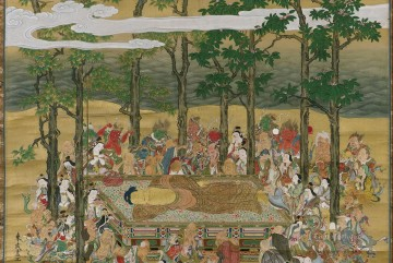 buddha Painting - The Death of the Historical Buddha Hanabusa Itcho Buddhism