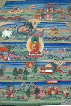 thangka Jataka Tales by Bhutanese Buddhism Oil Paintings