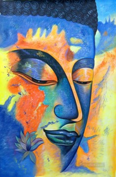 Blue Buddha with Yellow Shades Buddhism Oil Paintings