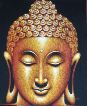 Buddha head in black Buddhism Oil Paintings