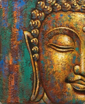 Buddhist Painting - Buddha head in bronze Buddhism