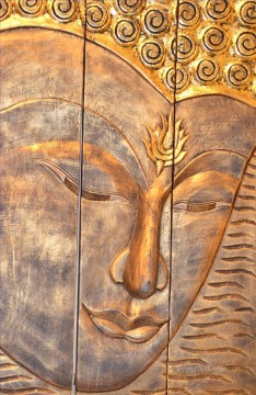 Buddhist Painting - Buddha head in golden powder Buddhism