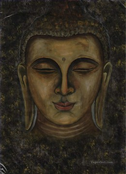 Buddha head in grey Buddhism Oil Paintings