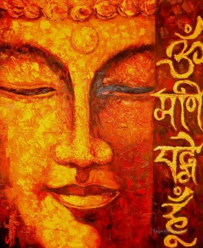 Buddhist Painting - Buddha head in red Buddhism