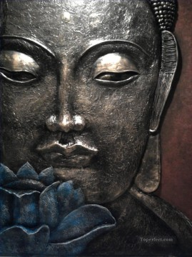 Buddha head in silver Buddhism Oil Paintings