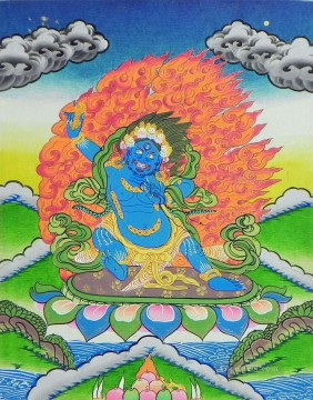 Blue Mahakal Thangka Buddhism Oil Paintings