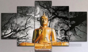 Buddha and pigeon Buddhism Oil Paintings