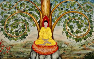 Buddhist Painting - Buddha under banyan golden powder Buddhism