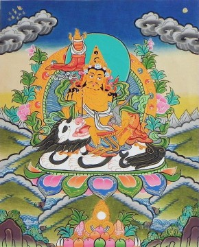 Buddhist Painting - Jambala Thangka Buddhism